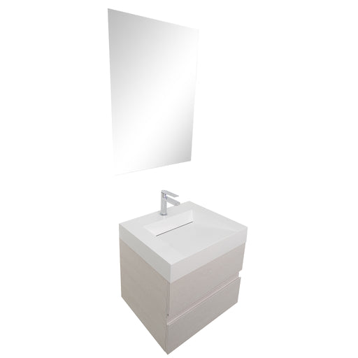 Aquamoon Contessa 24 Infinity Sink White Oak Wall Mounted Modern Bathroom Vanity Set