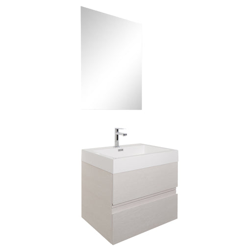 Aquamoon Contessa 24  White Oak Wall Mounted Modern Bathroom Vanity Set