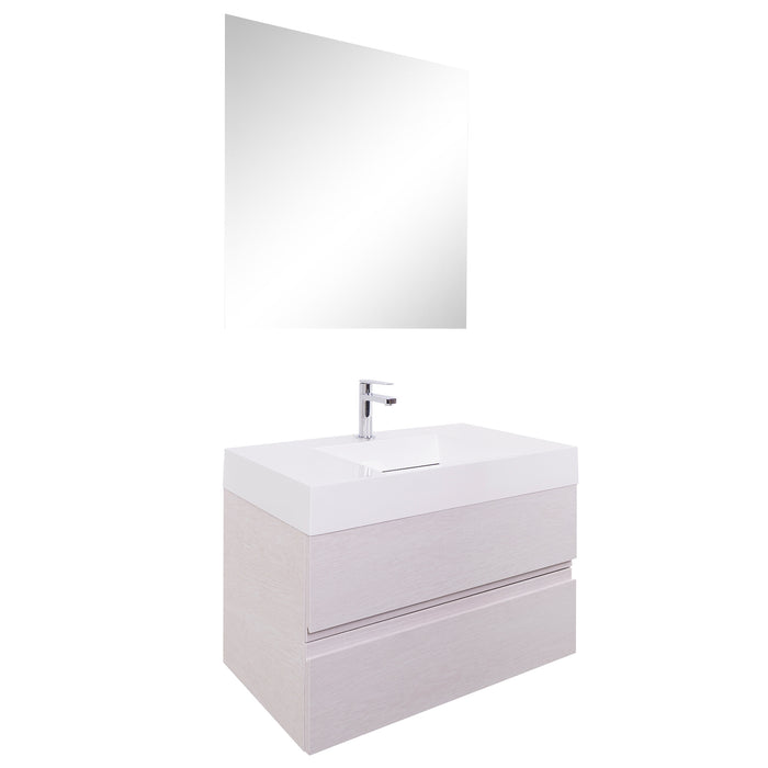 Aquamoon Contessa 31 Infinity Sink White Oak Wall Mounted Modern Bathroom Vanity Set - Bath Trends USA