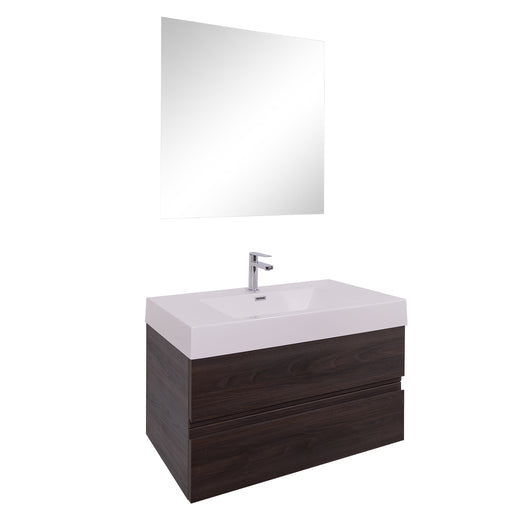 Aquamoon Contessa 36  Wendge Wall Mounted Modern Bathroom Vanity Set