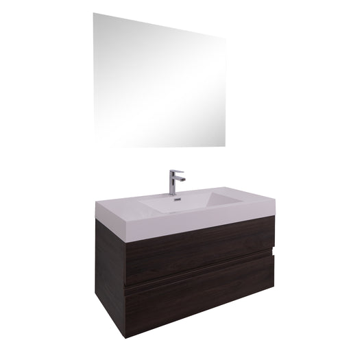 Aquamoon Contessa 39  Wendge Wall Mounted Modern Bathroom Vanity Set