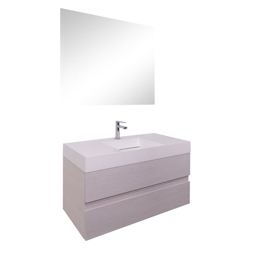 Aquamoon Contessa 39 Infinity Sink White Oak Wall Mounted Modern Bathroom Vanity Set