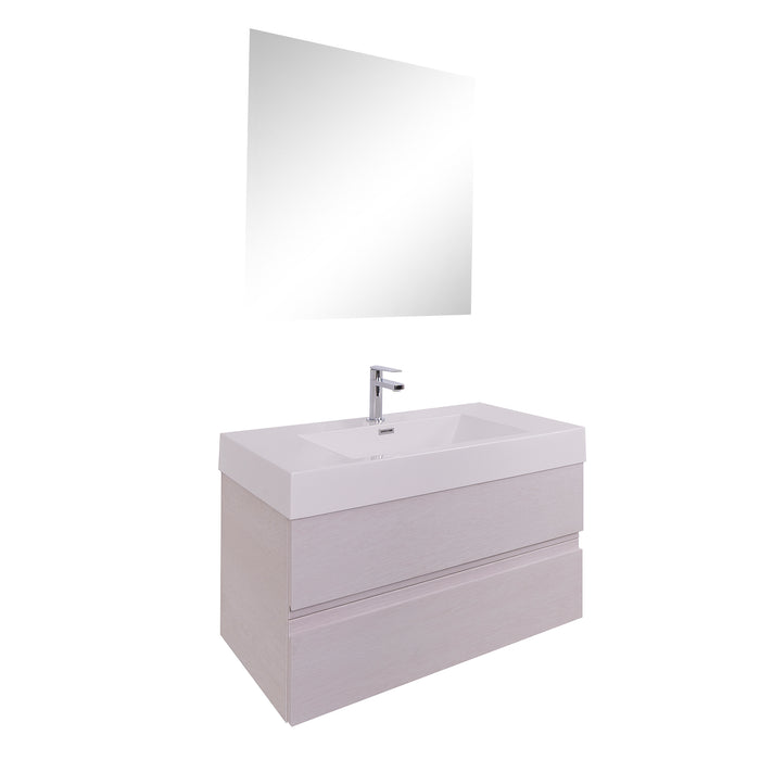 Aquamoon Contessa 39  White Oak Wall Mounted Modern Bathroom Vanity Set