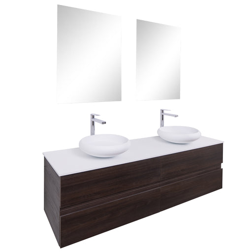 Aquamoon Contessa 63 Double Sink 1153 Wendge Wall Mounted Modern Bathroom Vanity Set - Bath Trends USA