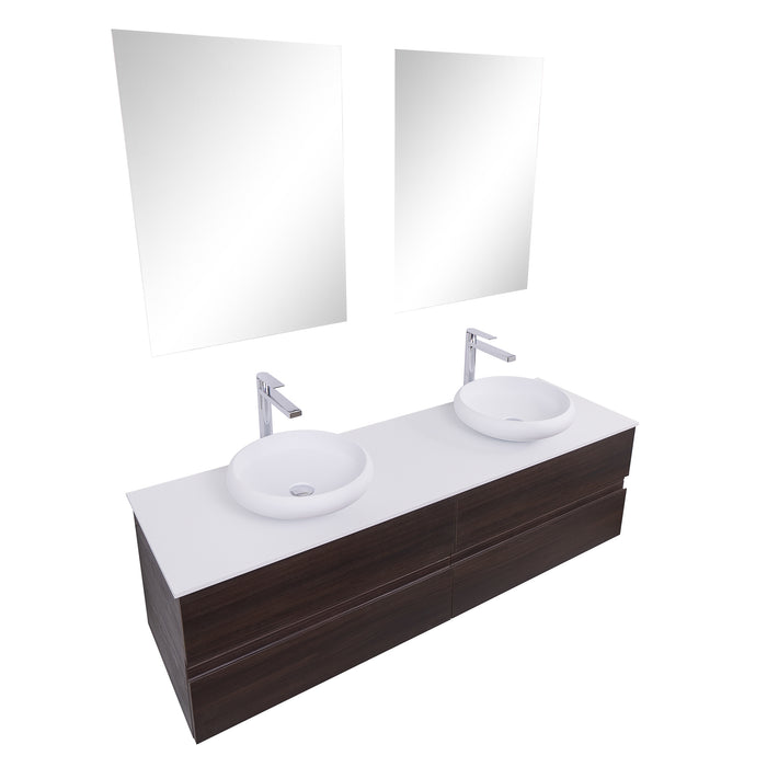 Aquamoon Contessa 63 Double Sink 1153 Wendge Wall Mounted Modern Bathroom Vanity Set