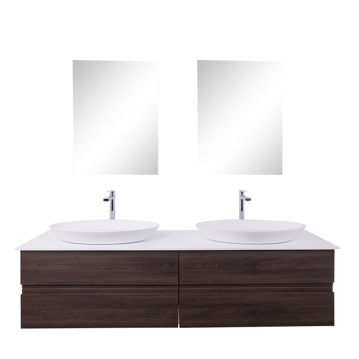 Aquamoon Contessa 63 Double Sink 1305  Wendge Wall Mounted Modern Bathroom Vanity Set