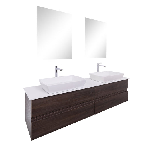 Aquamoon Contessa 63 Double Sink 1316 Wendge  Wall Mounted Modern Bathroom Vanity Set
