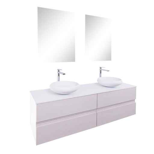Aquamoon Contessa 63 Double Sink 1153 White Wall Mounted Modern Bathroom Vanity Set
