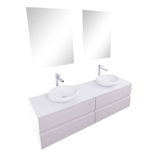 Aquamoon Contessa 63 Double Sink 1153 White Oak Wall Mounted Modern Bathroom Vanity Set