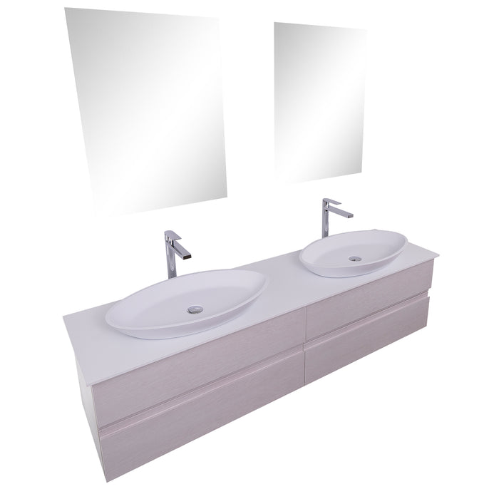 Aquamoon Contessa 63 Double Sink 1305  White Oak Wall Mounted Modern Bathroom Vanity Set