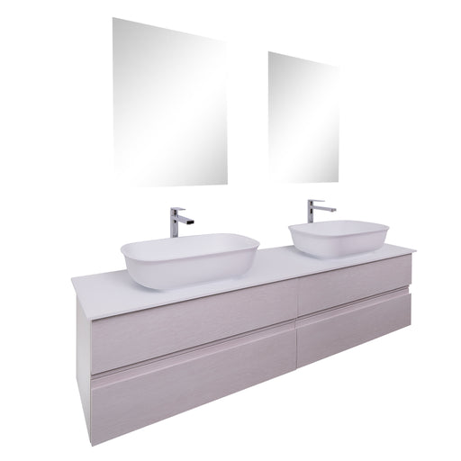 Aquamoon Contessa 63 Double Sink 1316 White Oak  Wall Mounted Modern Bathroom Vanity Set