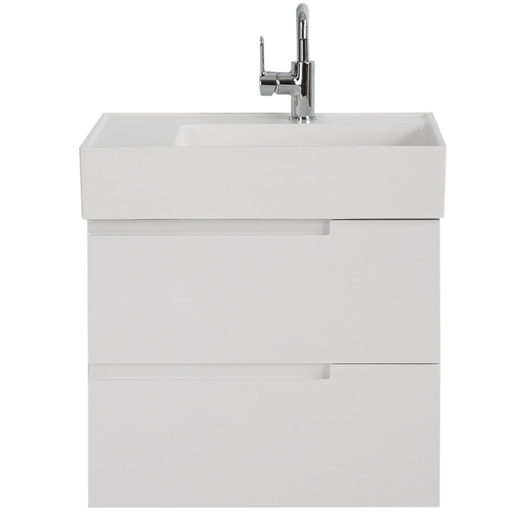 Aquamoon Cronos 24 White Wall Mounted Modern Bathroom Vanity Set