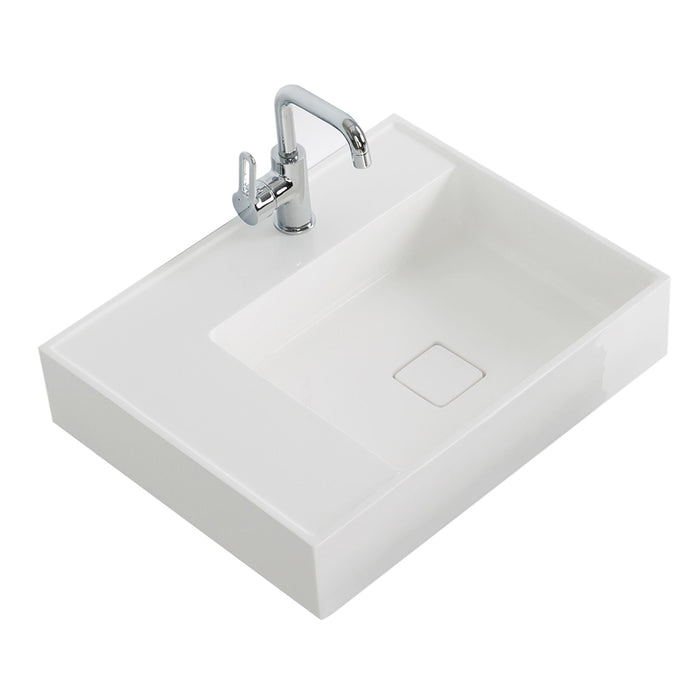 "Aquamoon Cronos 24"" Integrated Countertop White Square  Sink"