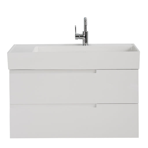 Aquamoon Cronos 36 White Wall Mounted Modern Bathroom Vanity Set - Bath Trends USA