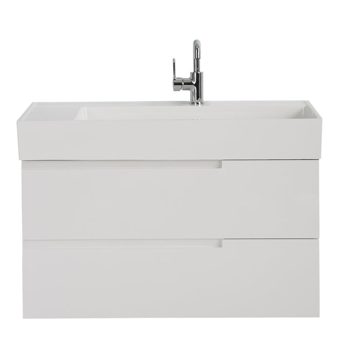 Aquamoon Cronos 36 White Wall Mounted Modern Bathroom Vanity Set