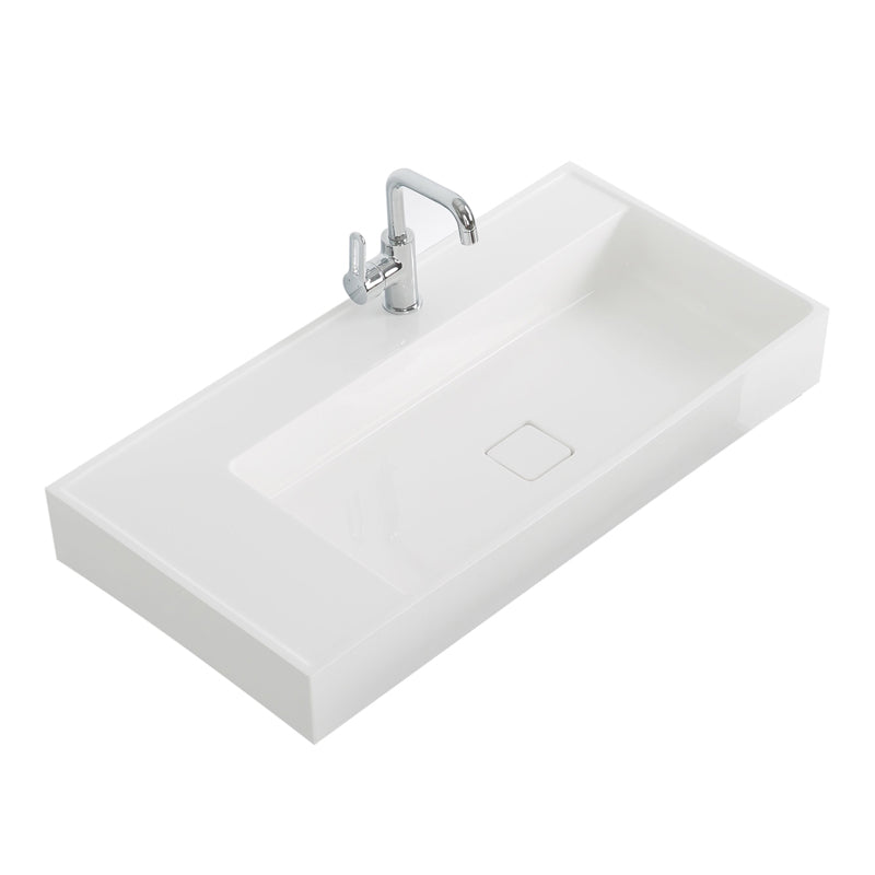"Aquamoon Cronos 36"" Integrated Countertop White Square  Sink"
