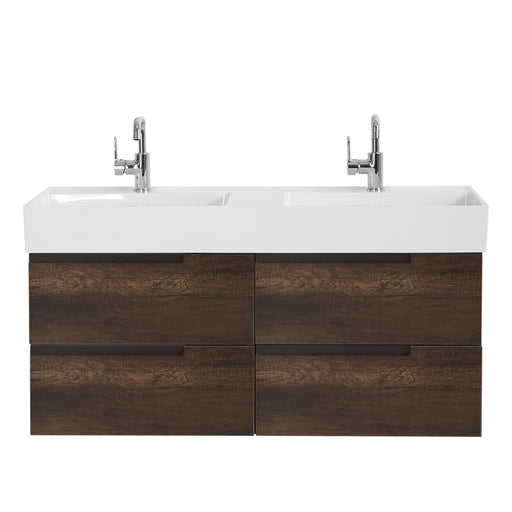 Aquamoon Cronos 48 Wendge Double Sink Wall Mounted Modern Bathroom Vanity Set