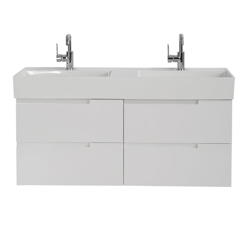 Aquamoon Cronos 48 White Double Sink Wall Mounted Modern Bathroom Vanity Set