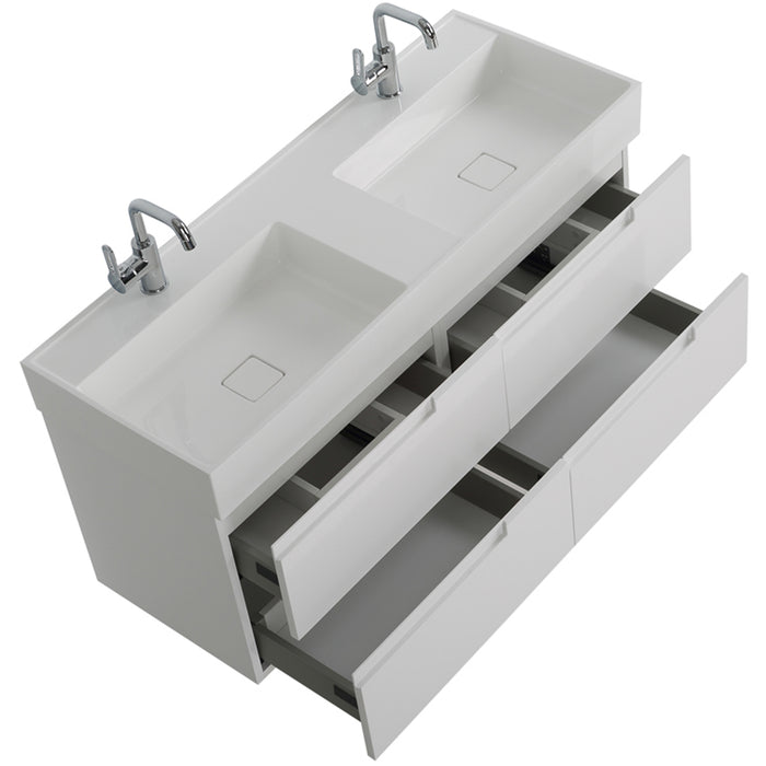 "Aquamoon Cronos 48 "" Integrated Countertop White Square Double Sink"