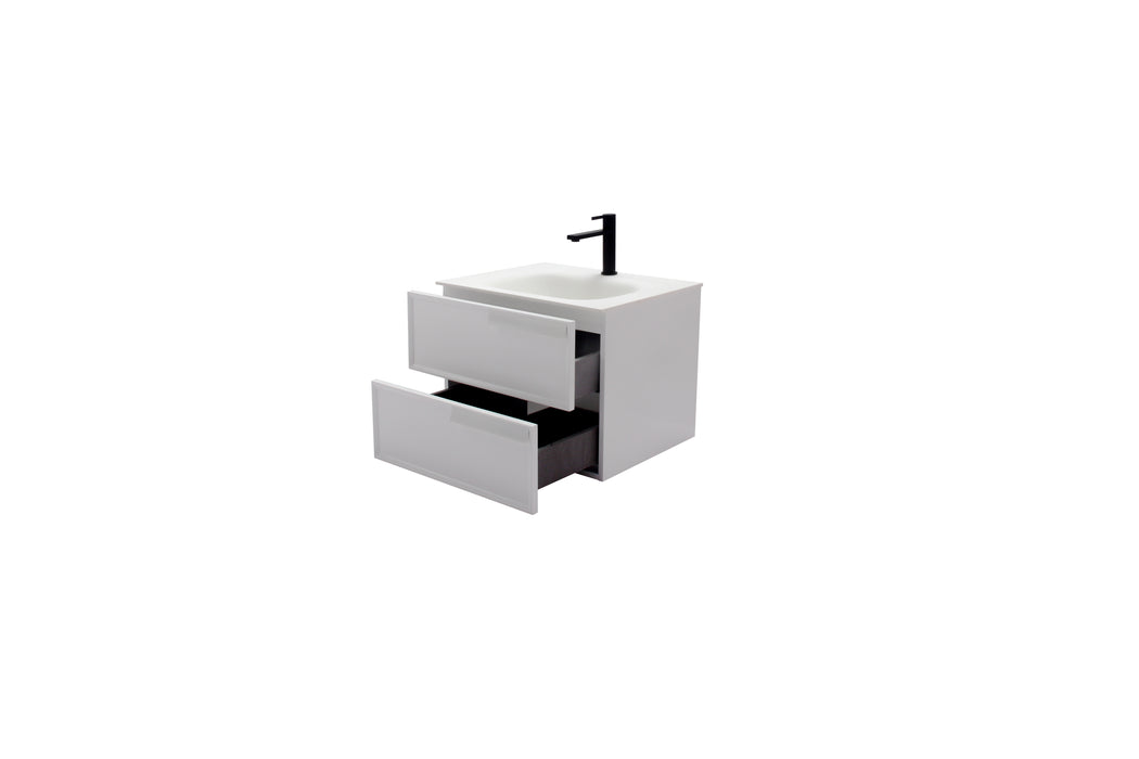 Aquamoon Garda 24 White Wall Hung Modern Bathroom Vanity Set  W/Mirror