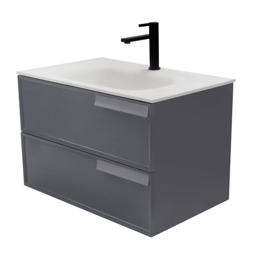 Aquamoon Garda 30 Grey Wall Hung Modern Bathroom Vanity Set W/Mirror - Bath Trends USA