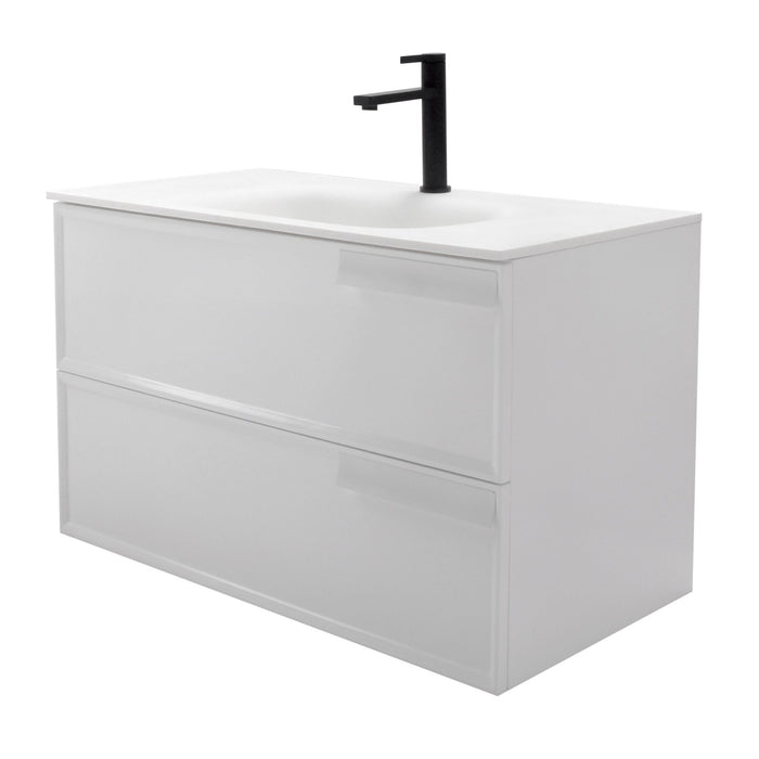 Aquamoon Garda 36 White Wall Hung Modern Bathroom Vanity Set