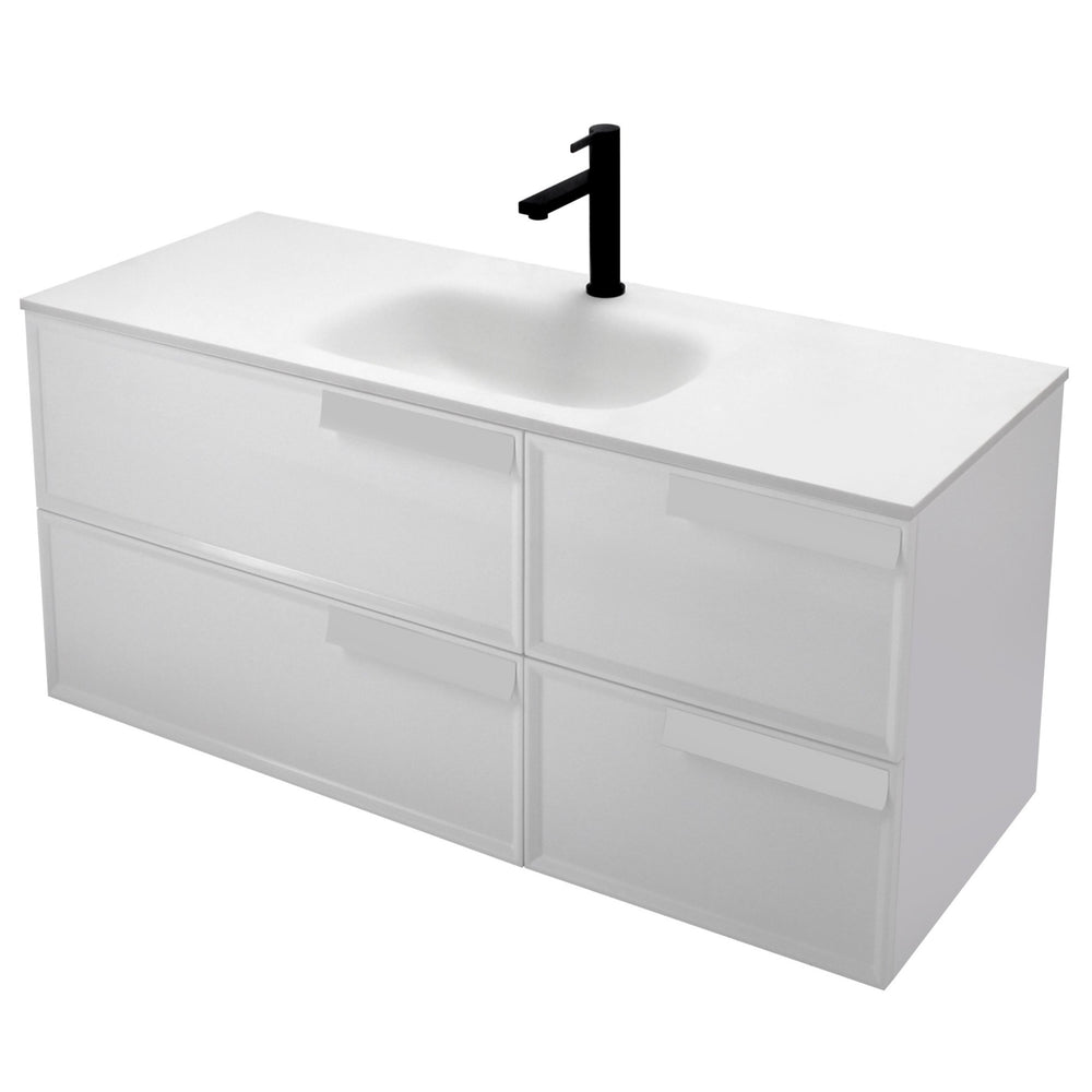 Aquamoon Garda 48 White Wall Hung Modern Bathroom Vanity Set