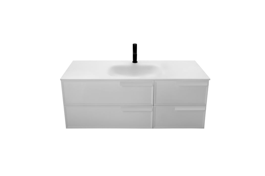 Aquamoon Garda 48 White Wall Hung Modern Bathroom Vanity Set - Bath Trends USA