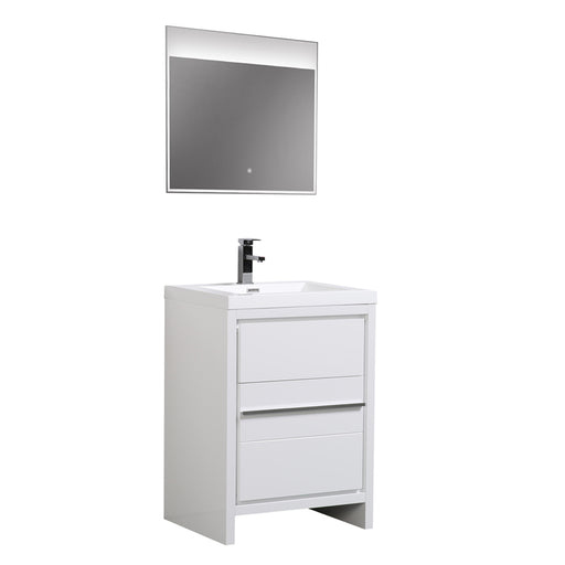 Aquamoon Granada 24 White Free Standing Modern Bathroom Vanity Set