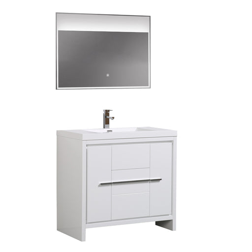 Aquamoon Granada 36 White Free Standing Modern Bathroom Vanity Set