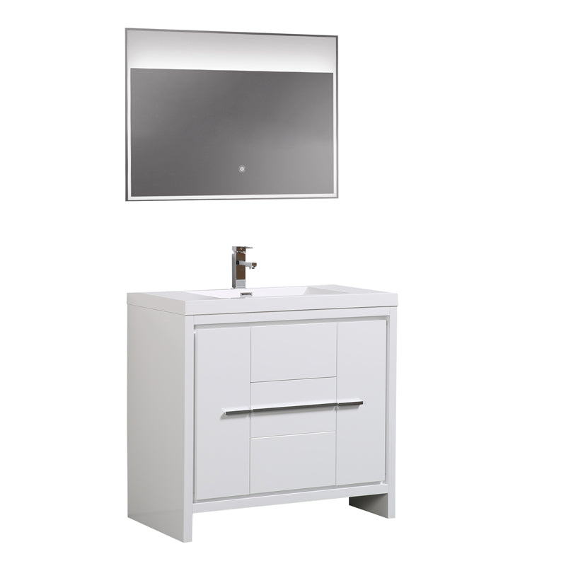 Aquamoon Granada 36 White Free Standing Modern Bathroom Vanity Set - Bath Trends USA