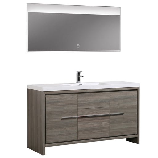 Aquamoon Granada 60 Maple Grey Free Standing Modern Bathroom Vanity Set - Bath Trends USA