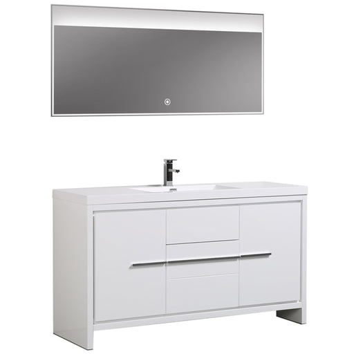 Aquamoon Granada 60 White Free Standing Modern Bathroom Vanity Set