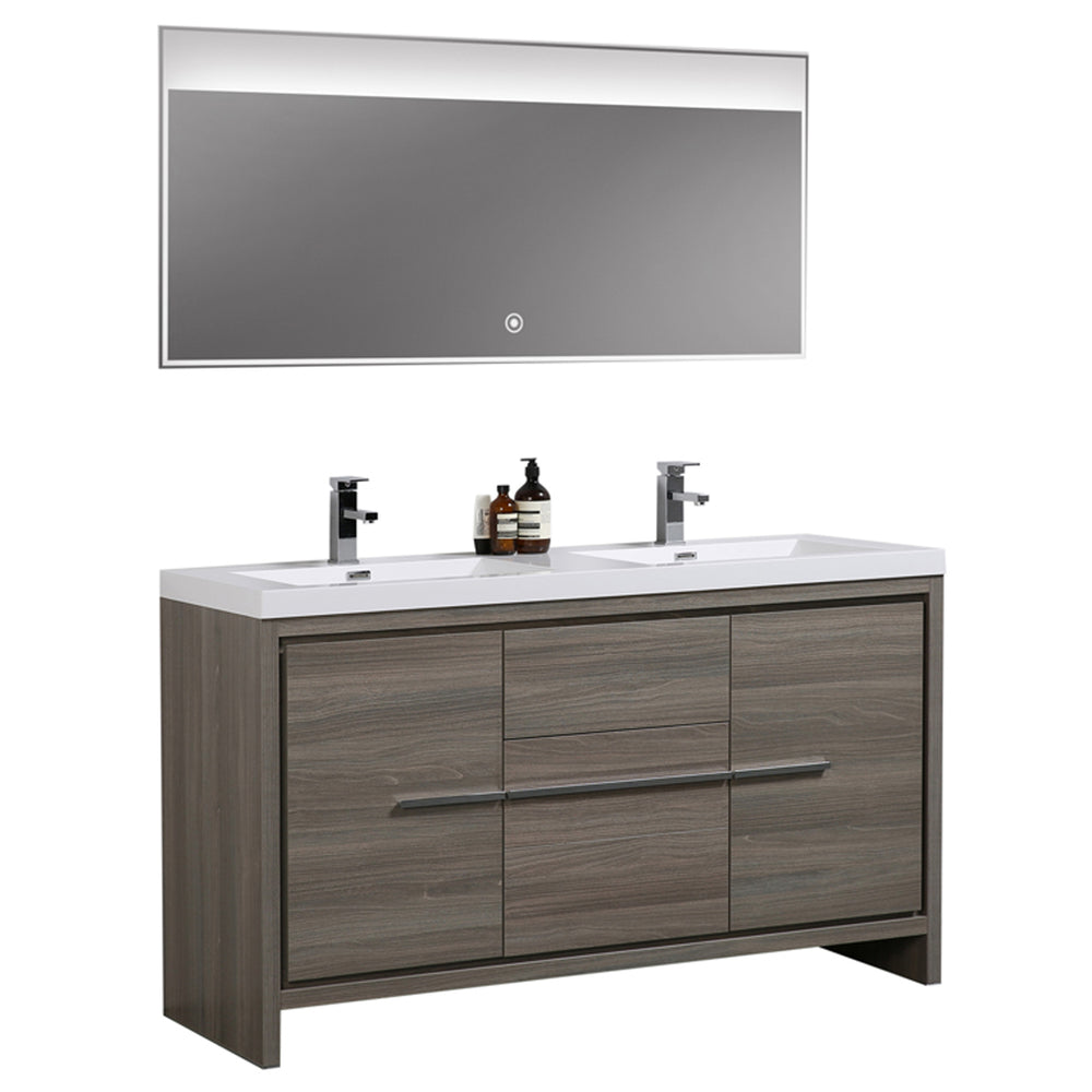 Aquamoon Granada 60 Maple Grey Free Standing Modern Bathroom Double Sink  Vanity Set