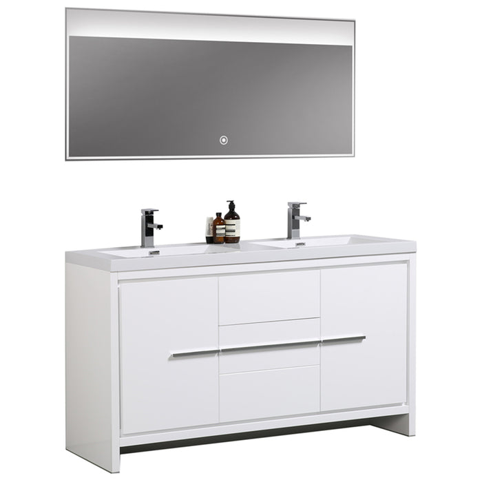 Aquamoon Granada 60 White Free Standing Modern Bathroom Double Sink Vanity Set - Bath Trends USA