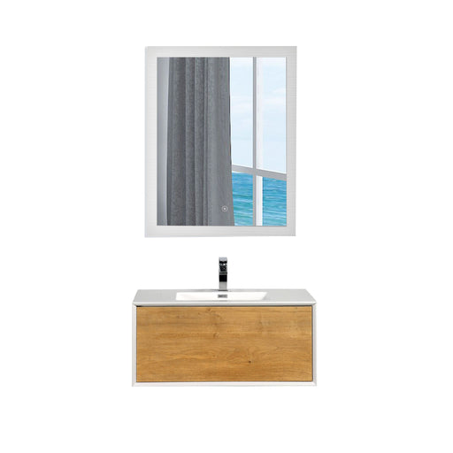 Aquamoon Icon 36 White Wall Hung Modern Bathroom Vanity Set