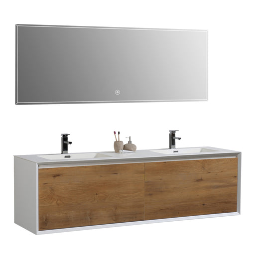 Aquamoon Icon 72 White Wall Hung Modern Bathroom Double Sink  Vanity Set