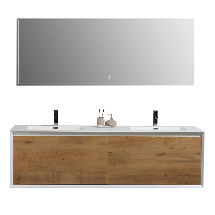 Aquamoon Icon 75 White Wall Hung Modern Bathroom Double Sink - CABINET ONLY