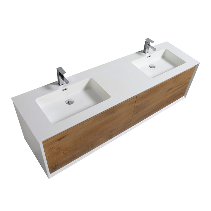 Aquamoon Icon 72 White Wall Hung Modern Bathroom Double Sink Vanity Set - Bath Trends USA