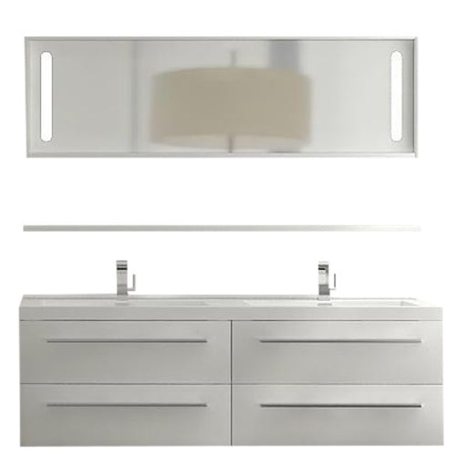 Aquamoon Magnum 63 White Wall Hung Modern Bathroom Double Sink  Vanity Set