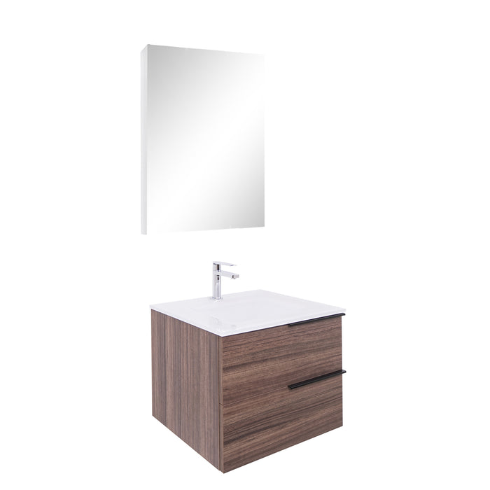 Aquamoon  Mallorca 24 Walnut Wall Mounted Modern Bathroom Vanity Set  With Glass Sink
