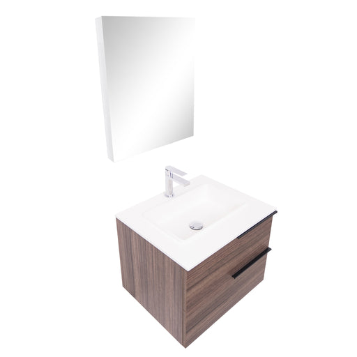 Aquamoon Mallorca 24 Walnut Wall Mounted Modern Bathroom Vanity Set With Solid Surface Sink - Bath Trends USA