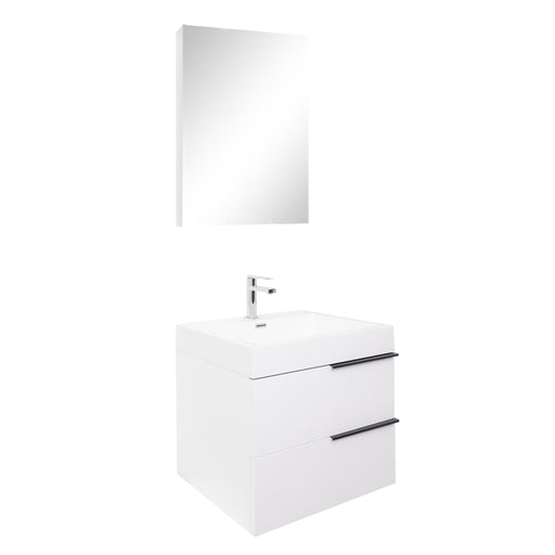 Aquamoon Mallorca 24 White Wall Mounted Modern Bathroom Vanity Set With Acrylic Sink - Bath Trends USA