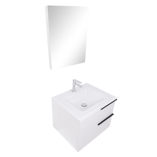 Aquamoon  Mallorca 24 White Wall Mounted Modern Bathroom Vanity Set  With Glass Sink