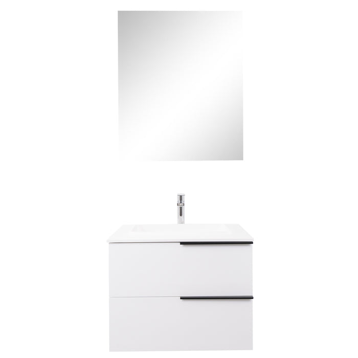 Aquamoon Mallorca 24 White Wall Mounted Modern Bathroom Vanity Set With Solid Surface Sink