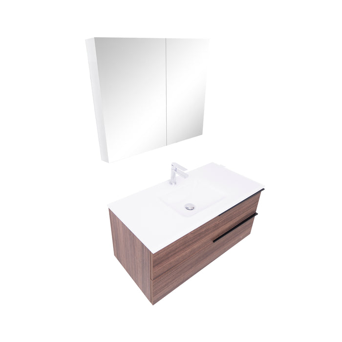 Aquamoon  Mallorca 31 Walnut Wall Mounted Modern Bathroom Vanity Set  With Glass Sink