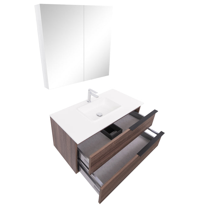 Aquamoon  Mallorca 31 Walnut Wall Mounted Modern Bathroom Vanity Set  With Solid Surface Sink