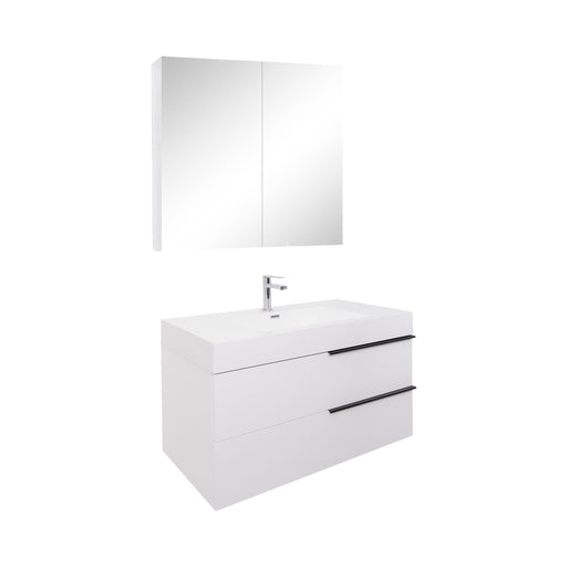 Aquamoon Mallorca 31 White Wall Mounted Modern Bathroom Vanity Set With Acrylic Sink - Bath Trends USA