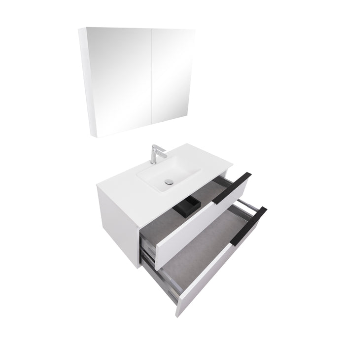 Aquamoon  Mallorca 31 White Wall Mounted Modern Bathroom Vanity Set  With Solid Surface Sink