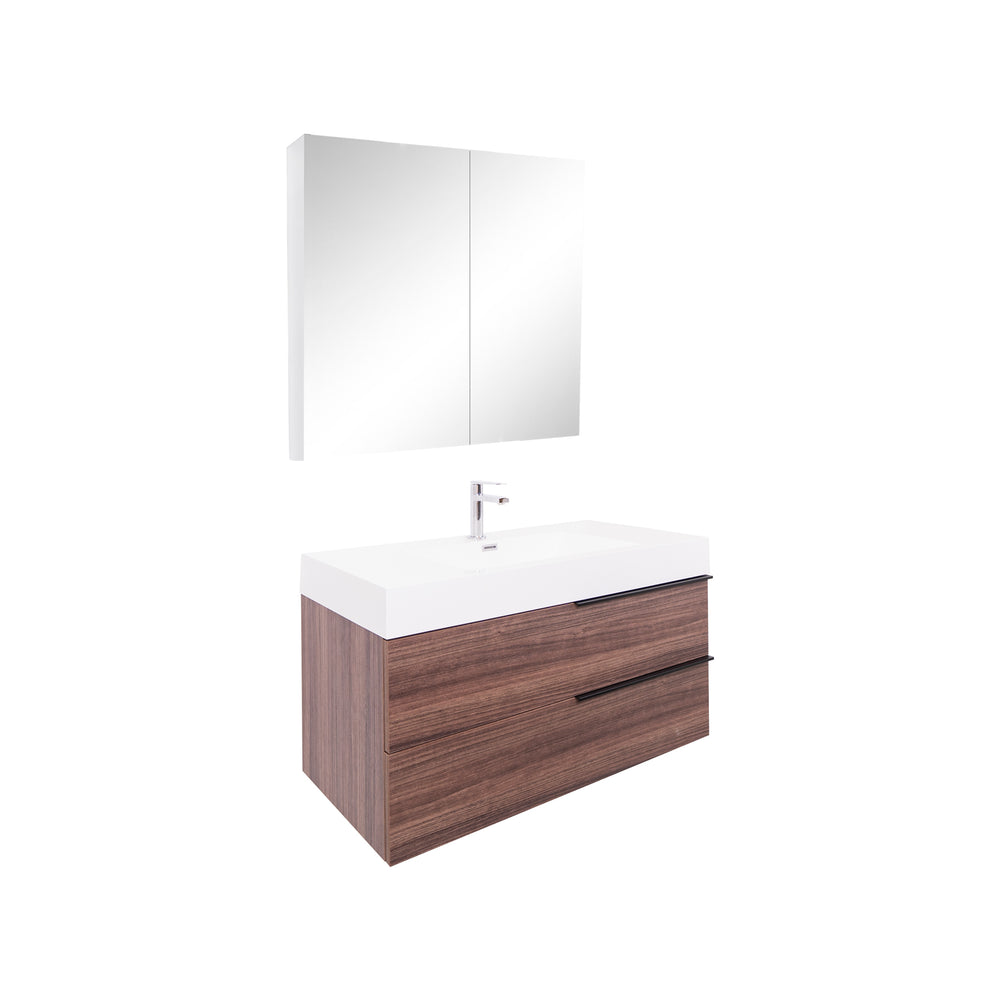 Aquamoon Mallorca 36 Walnut Wall Mounted Modern Bathroom Vanity Set  With Acrylic Sink